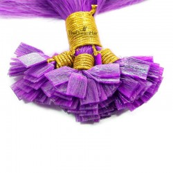 Pre-bonded Hair Extensions, Flat-Tip, Color #Purple, Made With Remy Indian Human Hair