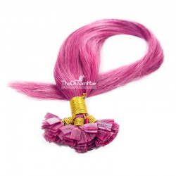 Pre-bonded Hair Extensions, Flat-Tip, Color #Pink, Made With Remy Indian Human Hair