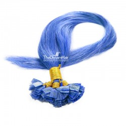 Pre-bonded Hair Extensions, Flat-Tip, Color #Blue, Made With Remy Indian Human Hair