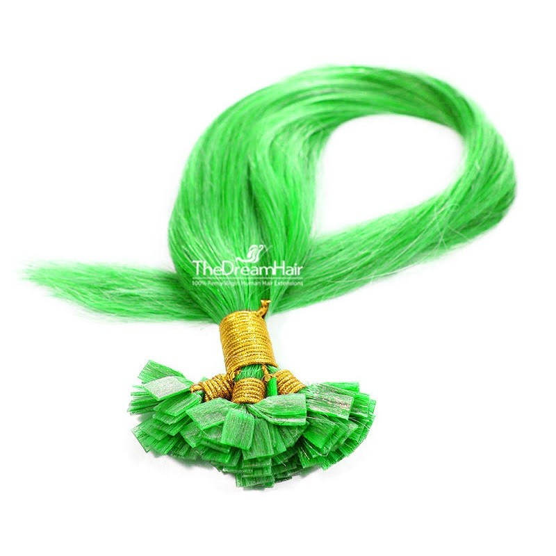 Pre-bonded Hair Extensions, Flat-Tip, Color #Green, Made With Remy Indian Human Hair