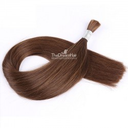 Bulk Hair Extensions, Colour #4 (Dark Brown), Made With Remy Indian Human Hair