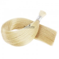 Bulk Hair Extensions, Colour #613 (Platinum Blonde), Made With Remy Indian Human Hair