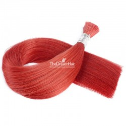 Bulk Hair Extensions, Colour #Red, Made With Remy Indian Human Hair