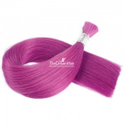Bulk Hair Extensions, Colour #Pink, Made With Remy Indian Human Hair