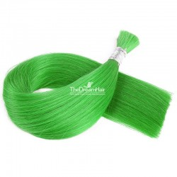 Bulk Hair Extensions, Colour #Green, Made With Remy Indian Human Hair