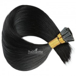 Pre-bonded Hair Extensions, Stick/I-Tip, Color #1 (Jet Black), Made With Remy Indian Human Hair