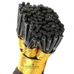 Pre-bonded Hair Extensions, Stick/I-Tip, Color #1B (Off Black), Made With Remy Indian Human Hair