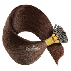 Pre-bonded Hair Extensions, Stick/I-Tip, Color #2 (Darkest Brown), Made With Remy Indian Human Hair