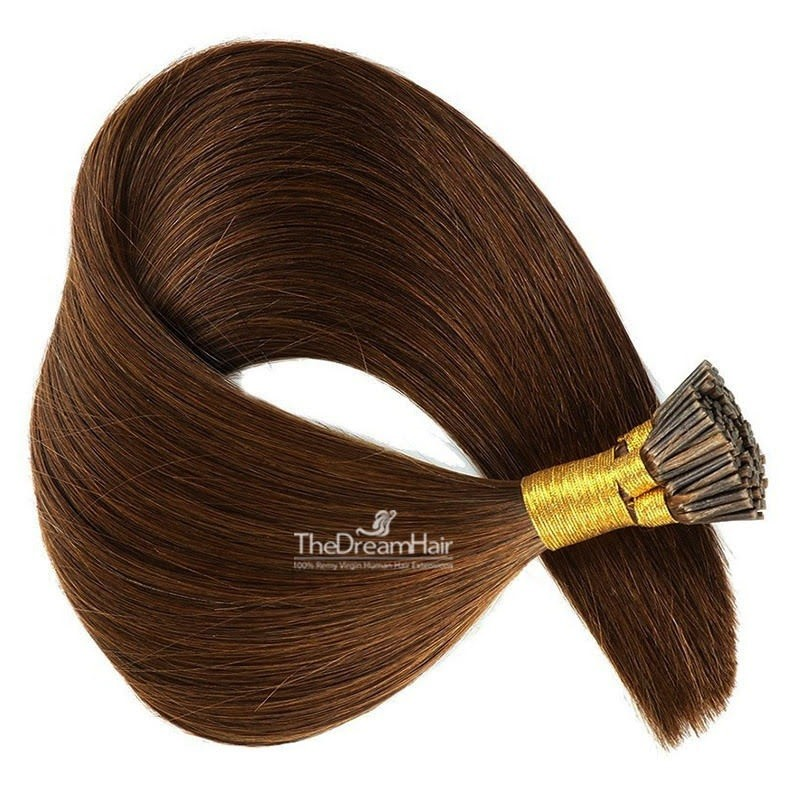 Pre-bonded Hair Extensions, Stick/I-Tip, Color #4 (Dark Brown), Made With Remy Indian Human Hair