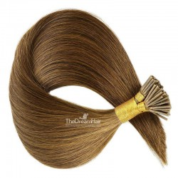 Pre-bonded Hair Extensions, Stick/I-Tip, Color #6 (Medium Brown), Made With Remy Indian Human Hair