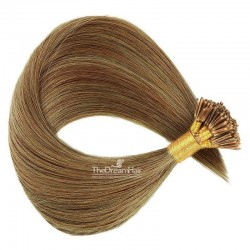 Pre-bonded Hair Extensions, Stick/I-Tip, Color #8 (Chestnut Brown), Made With Remy Indian Human Hair