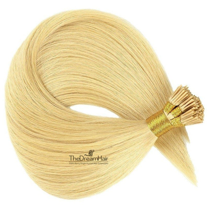 Pre-bonded Hair Extensions, Stick/I-Tip, Color #22 (Light Pale Blonde), Made With Remy Indian Human Hair