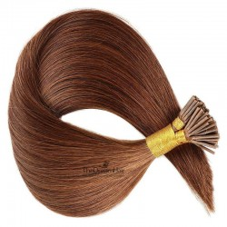 Pre-bonded Hair Extensions, Stick/I-Tip, Color #30 (Dark Auburn), Made With Remy Indian Human Hair