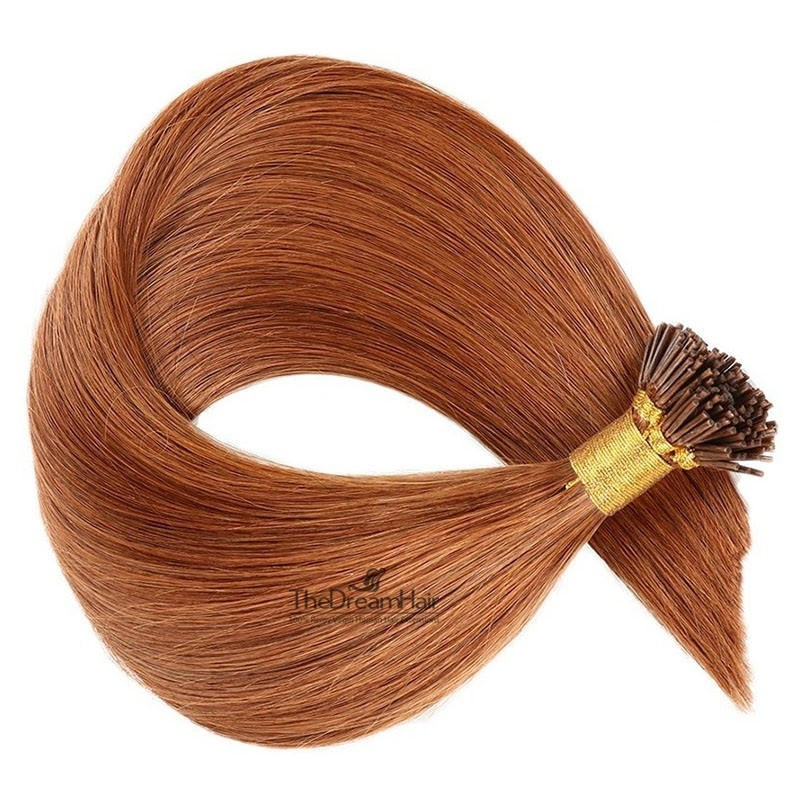 Pre-bonded Hair Extensions, Stick/I-Tip, Color #35 (Red Rust), Made With Remy Indian Human Hair