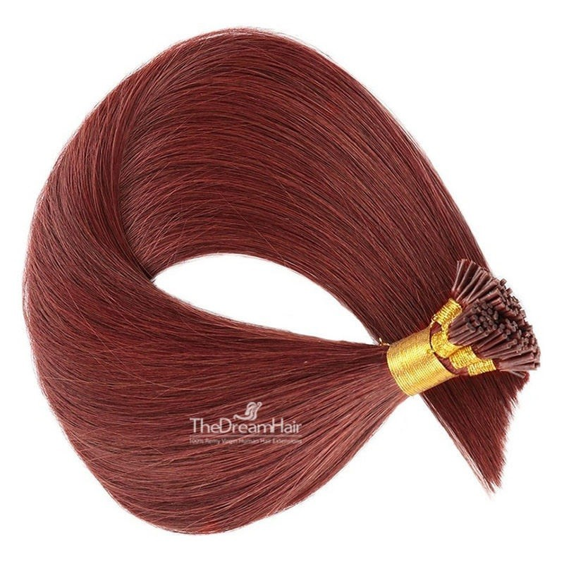 Pre-bonded Hair Extensions, Stick/I-Tip, Color #530 (Red Wine), Made With Remy Indian Human Hair