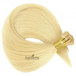 Pre-bonded Hair Extensions, Stick/I-Tip, Color #60 (Lightest Blonde), Made With Remy Indian Human Hair