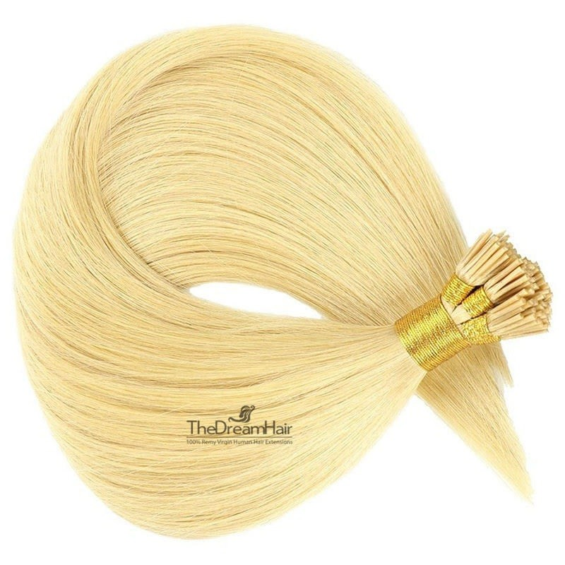 Pre-bonded Hair Extensions, Stick/I-Tip, Color #613 (Platinum Blonde), Made With Remy Indian Human Hair