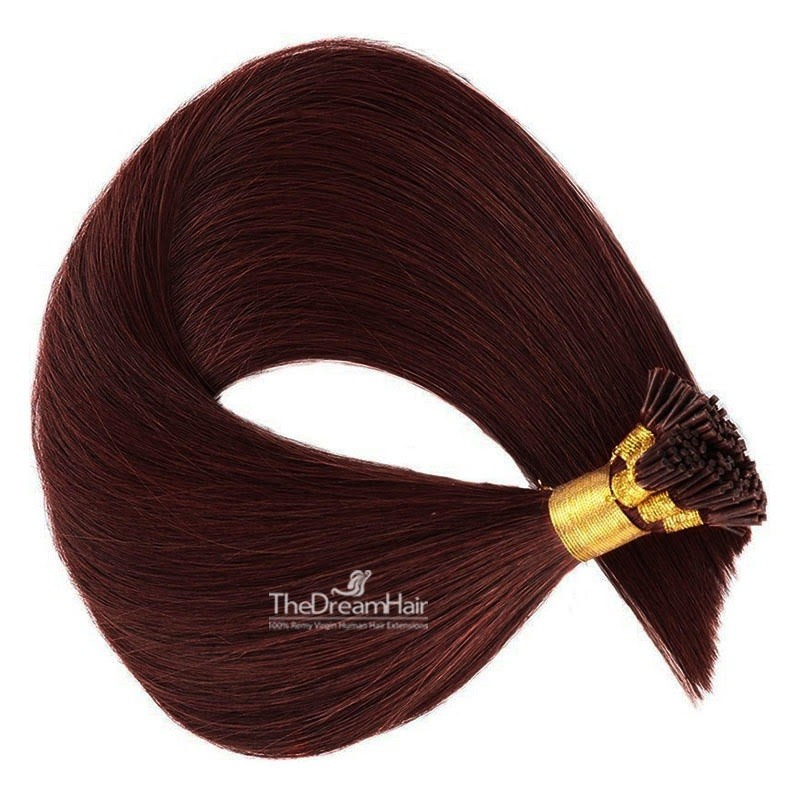 Pre-bonded Hair Extensions, Stick/I-Tip, Color #99j (Burgundy), Made With Remy Indian Human Hair