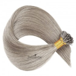 Pre-bonded Hair Extensions, Stick/I-Tip, Color #Grey, Made With Remy Indian Human Hair