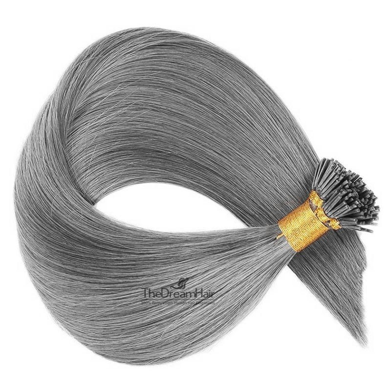 Pre-bonded Hair Extensions, Stick/I-Tip, Color #Silver, Made With Remy Indian Human Hair