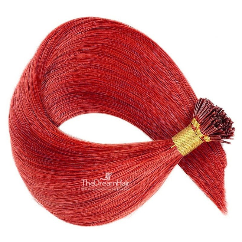 Pre-bonded Hair Extensions, Stick/I-Tip, Color #Red, Made With Remy Indian Human Hair