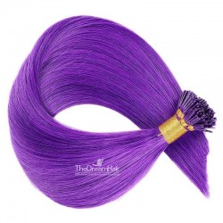 Pre-bonded Hair Extensions, Stick/I-Tip, Color #Purple, Made With Remy Indian Human Hair