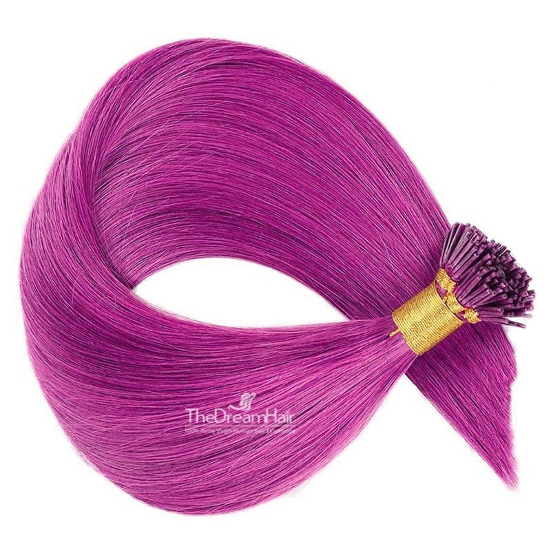 Pre-bonded Hair Extensions, Stick/I-Tip, Color #Pink, Made With Remy Indian Human Hair