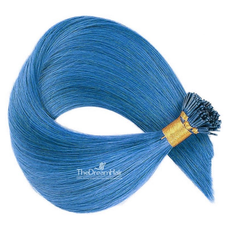 Pre-bonded Hair Extensions, Stick/I-Tip, Color #Blue, Made With Remy Indian Human Hair