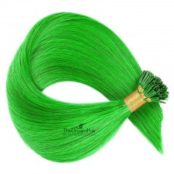 Pre-bonded Hair Extensions, Stick/I-Tip, Color #Green, Made With Remy Indian Human Hair