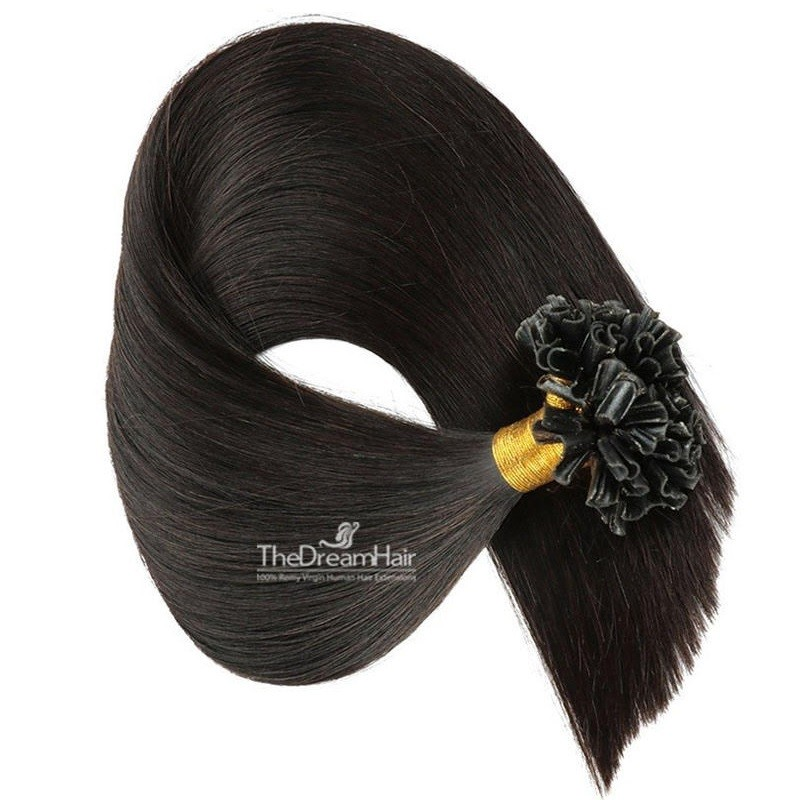 Pre-bonded Hair Extensions, Nail/U-Tip, Color #1B (Off Black), Made With Remy Indian Human Hair