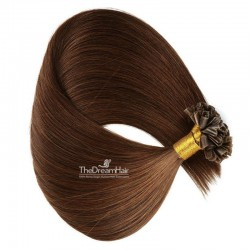 Pre-bonded Hair Extensions, Nail/U-Tip, Color #4 (Dark Brown), Made With Remy Indian Human Hair