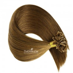 Pre-bonded Hair Extensions, Nail/U-Tip, Color #6 (Medium Brown), Made With Remy Indian Human Hair