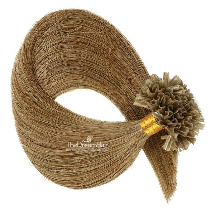 Pre-bonded Hair Extensions, Nail/U-Tip, Color #8 (Chestnut Brown), Made With Remy Indian Human Hair