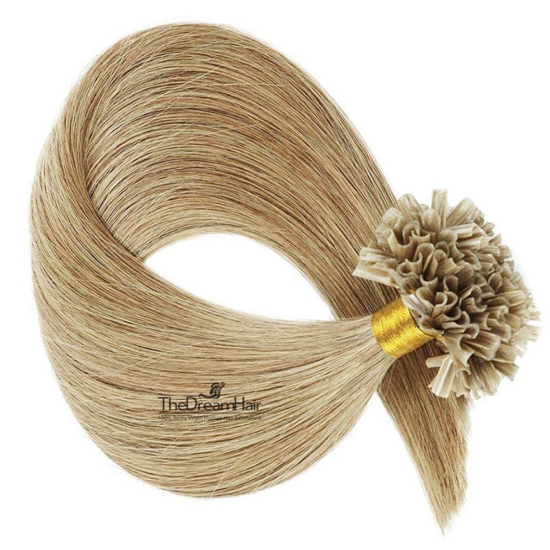 Pre-bonded Hair Extensions, Nail/U-Tip, Color #18 (Light Ash Blonde), Made With Remy Indian Human Hair