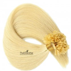 Pre-bonded Hair Extensions, Nail/U-Tip, Color #22 (Light Pale Blonde), Made With Remy Indian Human Hair