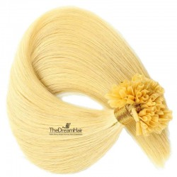 Pre-bonded Hair Extensions, Nail/U-Tip, Color #24 (Golden Blonde), Made With Remy Indian Human Hair