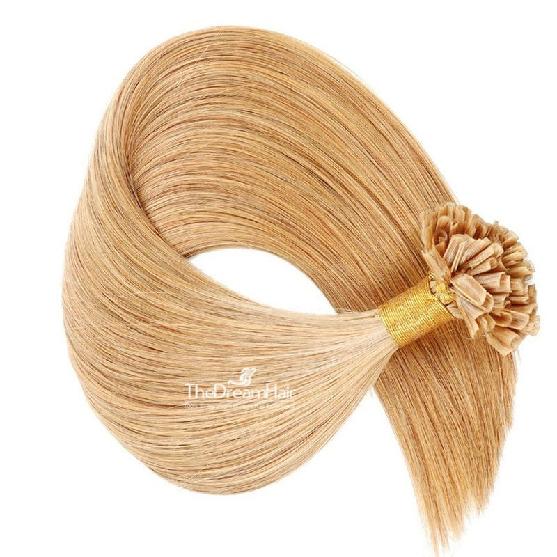 Pre-bonded Hair Extensions, Nail/U-Tip, Color #27 (Honey Blonde), Made With Remy Indian Human Hair