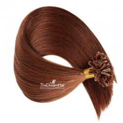 Pre-bonded Hair Extensions, Nail/U-Tip, Color #30 (Dark Auburn), Made With Remy Indian Human Hair