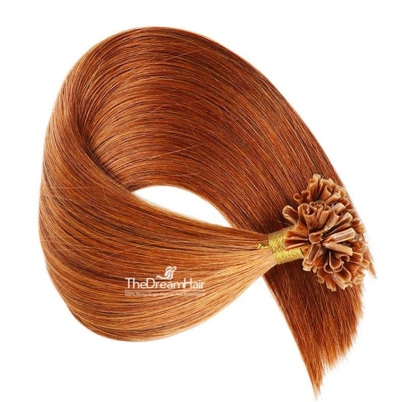 Pre-bonded Hair Extensions, Nail/U-Tip, Color #35 (Red Rust), Made With Remy Indian Human Hair