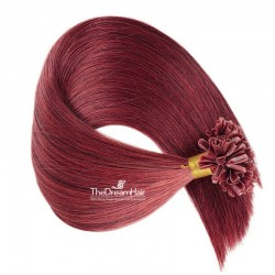 Pre-bonded Hair Extensions, Nail/U-Tip, Color #530 (Red Wine), Made With Remy Indian Human Hair