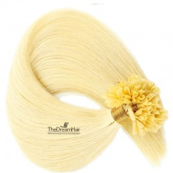 Pre-bonded Hair Extensions, Nail/U-Tip, Color #613 (Platinum Blonde), Made With Remy Indian Human Hair