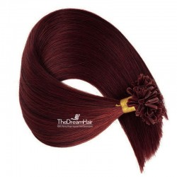 Pre-bonded Hair Extensions, Nail/U-Tip, Color #99j (Burgundy), Made With Remy Indian Human Hair