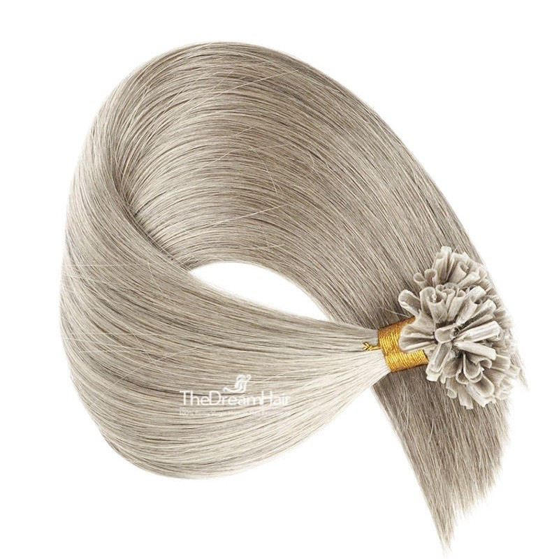Pre-bonded Hair Extensions, Nail/U-Tip, Color #Grey, Made With Remy Indian Human Hair
