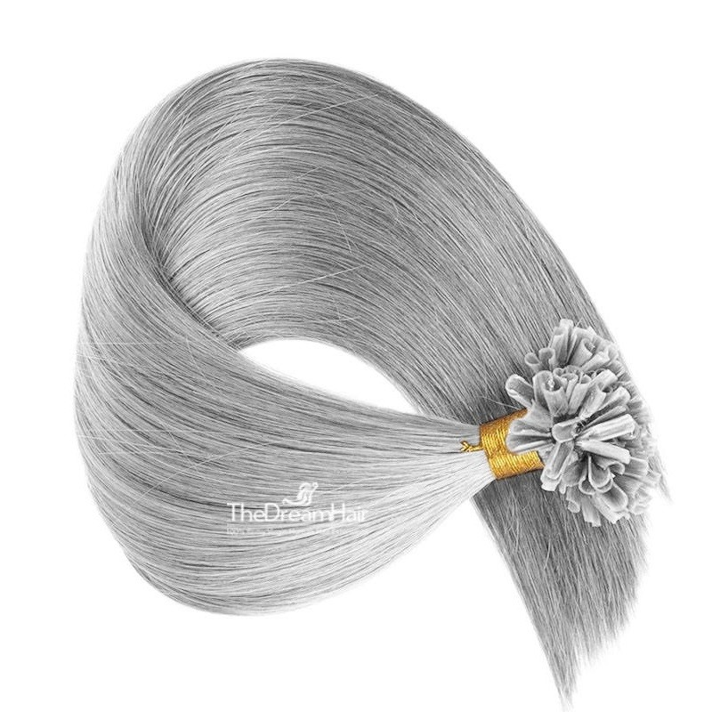 Pre-bonded Hair Extensions, Nail/U-Tip, Color #Silver, Made With Remy Indian Human Hair