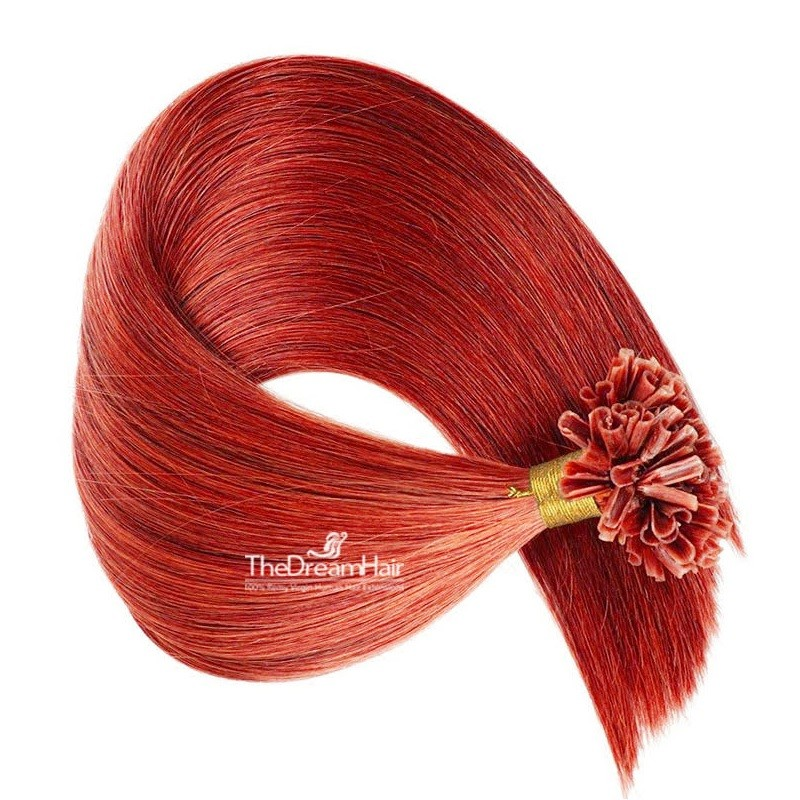 Pre-bonded Hair Extensions, Nail/U-Tip, Color #Red, Made With Remy Indian Human Hair