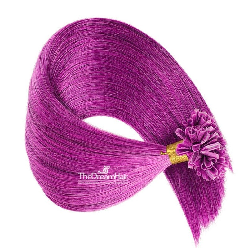 Pre-bonded Hair Extensions, Nail/U-Tip, Color #Pink, Made With Remy Indian Human Hair