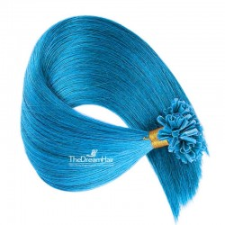 Pre-bonded Hair Extensions, Nail/U-Tip, Color #Blue, Made With Remy Indian Human Hair