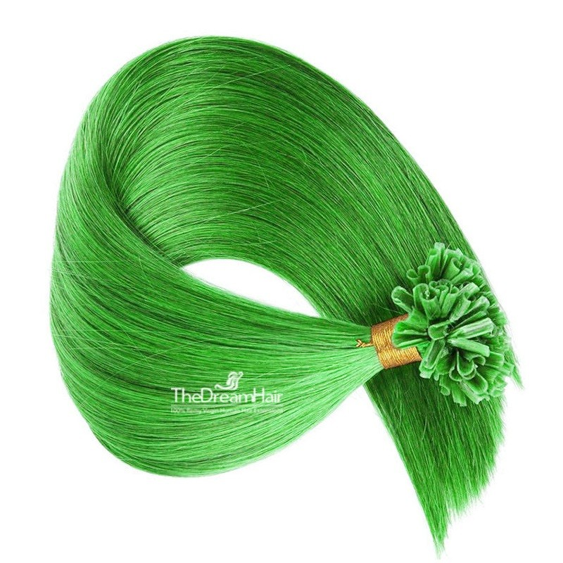 Pre-bonded Hair Extensions, Nail/U-Tip, Color #Green, Made With Remy Indian Human Hair