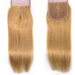 Top Closure Hair Extensions, Free Part, Colour #24 (Golden Blonde), Made With Remy Indian Human Hair